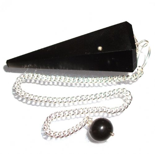 Black Obsidian Volcanic Glass Pendulum Dowsing Crystal Point